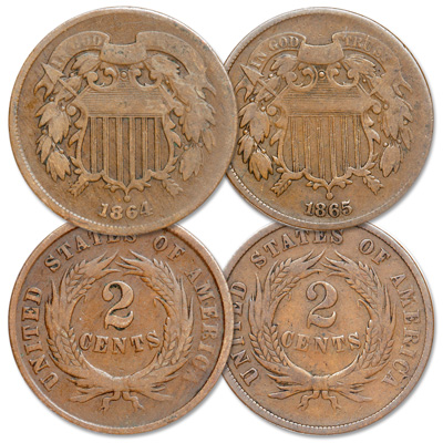 Image for 1864-1865 Two Cent Piece Set from Littleton Coin Company