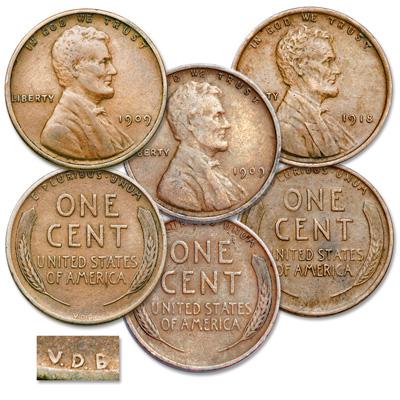 Image for 1909 & 1918 Lincoln Head Cent VDB Transition Set from Littleton Coin Company