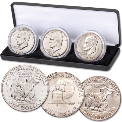 Image for 1971-1978 First, Last & Bicentennial Eisenhower Dollar Set from Littleton Coin Company