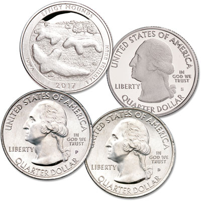 Image for 2017 PDS Effigy Mounds National Monument Quarter Set from Littleton Coin Company