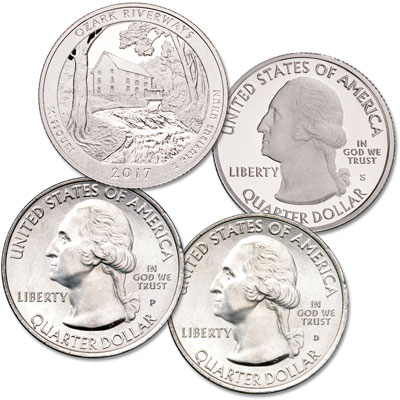 Image for 2017 PDS Ozark National Scenic Riverways Quarter Set from Littleton Coin Company