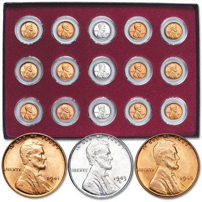 Image for 1941-1945 PDS Set of WWII Lincoln Cents in Display Box from Littleton Coin Company