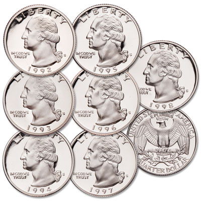 Image for 1992-1998 Last Clad Washington Quarter Proofs from Littleton Coin Company