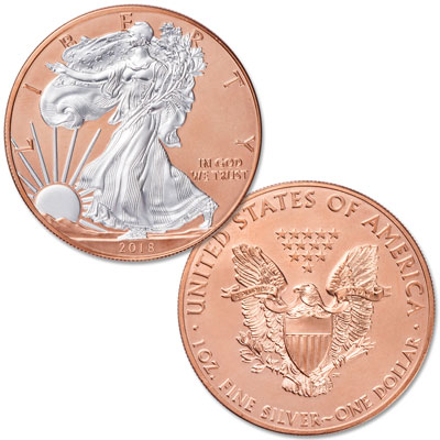 Image for 2018 Rose Gold-Plated Silver American Eagle with Case from Littleton Coin Company
