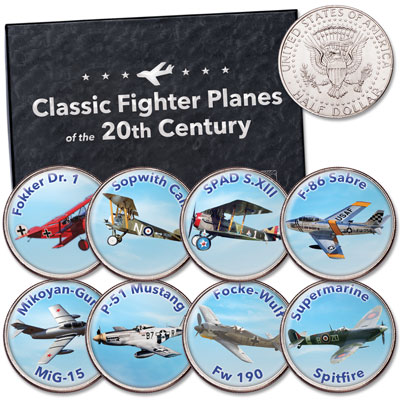 Image for Colorized Classic Fighter Planes Kennedy Half Dollar Set from Littleton Coin Company