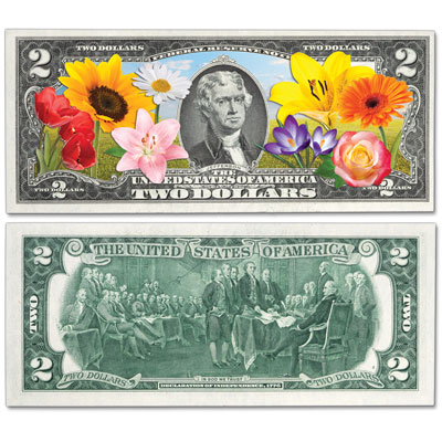 Image for Colorized $2 Federal Reserve Note - Popular Flowers from Littleton Coin Company