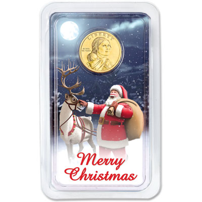 Image for 2018 Native American Dollar in Merry Christmas Showpak from Littleton Coin Company