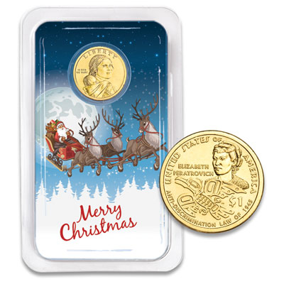 Image for 2020 Native American Dollar in Merry Christmas Showpak from Littleton Coin Company