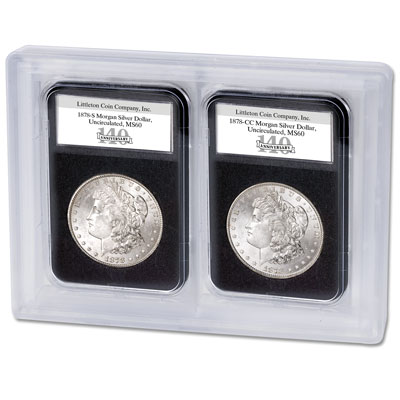 Image for 1878-S & CC Morgan Dollar 140th Anniversary Set from Littleton Coin Company