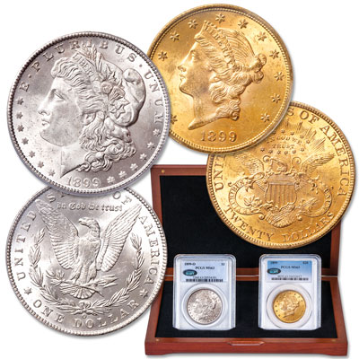 Image for 1899 Liberty Head $20 Gold Piece & 1899-O Morgan Silver Dollar Set from Littleton Coin Company