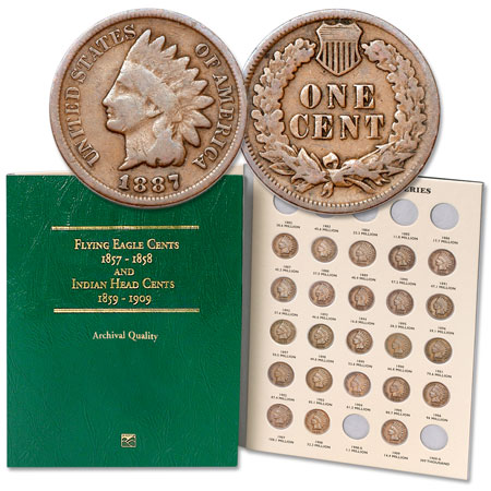 Image for 1887-1909 Complete Year Set of Indian Head Cents with Folder from Littleton Coin Company