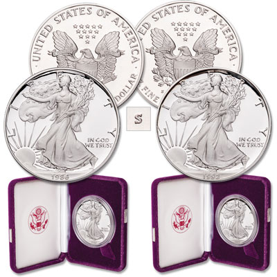 "Image for 1986 & 1992 First & Last ""S"" Mint Silver American Eagles from Littleton Coin Company"