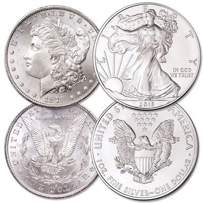 Image for 1896 Morgan Silver Dollar with 2018 American Silver Eagle from Littleton Coin Company