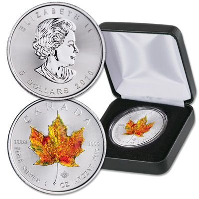 Image for 2018 Canada Hand-Painted Silver $5 Maple Leaf from Littleton Coin Company