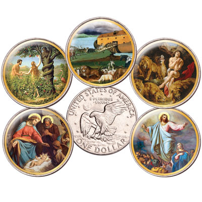 Image for Colorized Bible Passages Eisenhower Dollar Set from Littleton Coin Company
