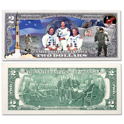 Image for Colorized $2 Federal Reserve Note - Apollo 11 from Littleton Coin Company