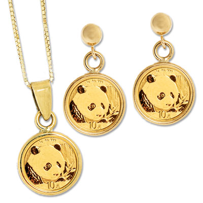 Image for 2018 Gold Panda Earrings & Necklace Set from Littleton Coin Company