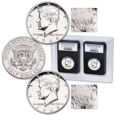 Image for 1964 Silver and Accented Hair Variety Kennedy Half Dollar Set from Littleton Coin Company