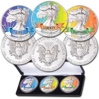 Image for 2018 Colorized Silver Eagle Dollars - Life, Liberty and Happiness from Littleton Coin Company