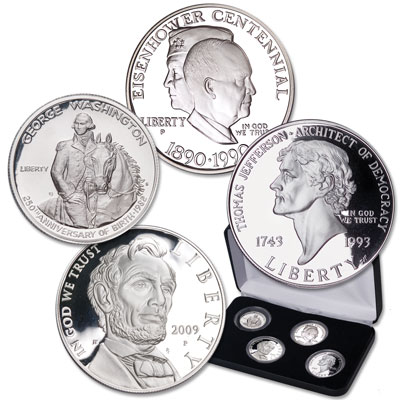 Image for Presidential Silver Commemorative Set with Display Case from Littleton Coin Company