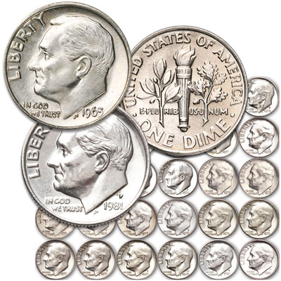Image for 1965-1981 Complete P&D Roosevelt Dime Set from Littleton Coin Company