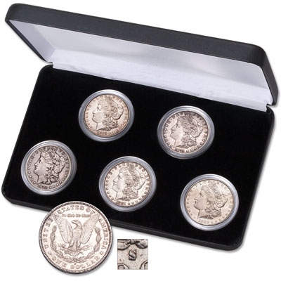 "Image for 1878-1882 First-Five-Years ""S"" Mint Morgan Dollar Set with Display Case from Littleton Coin Company"