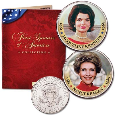 Image for Colorized First Spouses Collection with Folder - Nancy Reagan & Jacqueline Kennedy from Littleton Coin Company