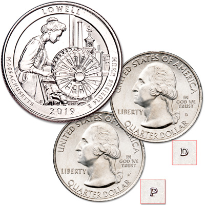 Image for 2019 P&D Lowell National Historical Park Quarter Set from Littleton Coin Company