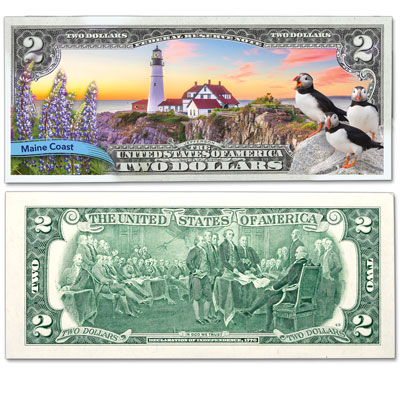 Image for Colorized $2 Federal Reserve Note Great American Landscapes - Maine Coast from Littleton Coin Company