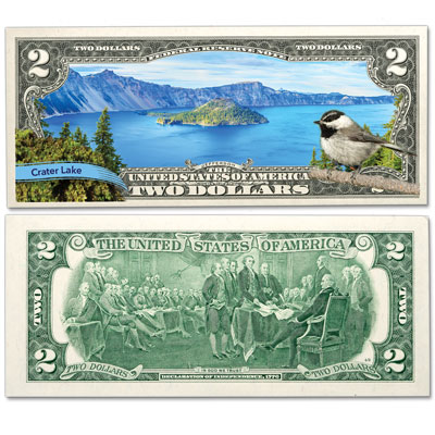 Image for Colorized $2 Federal Reserve Note Great American Landscapes - Crater Lake from Littleton Coin Company
