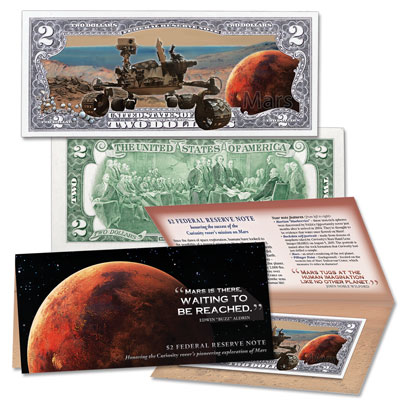 Image for Colorized $2 Federal Reserve Note - Mission to Mars from Littleton Coin Company