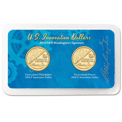 Image for 2018 P&D Washington's Signature U.S. Innovation Dollar in Showpak from Littleton Coin Company