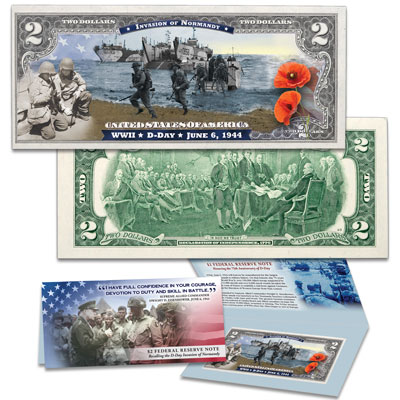 Image for Colorized $2 Federal Reserve Note - Normandy Beaches from Littleton Coin Company