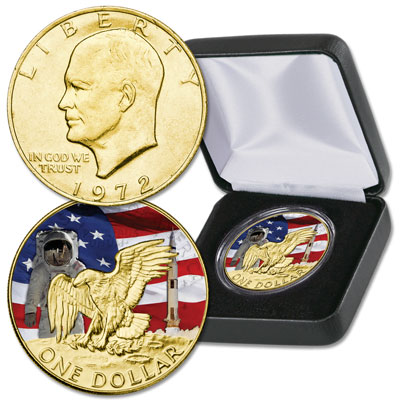 Image for Colorized and Gold-Plated Apollo 11 Eisenhower Dollar from Littleton Coin Company