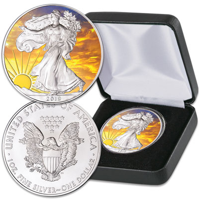 Image for 2019 Colorized & Gold-Plated Dawn's Early Light Silver American Eagle from Littleton Coin Company