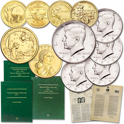 Image for 2015-2019 P&D Kennedy Half Dollar & Native American Dollar Set from Littleton Coin Company