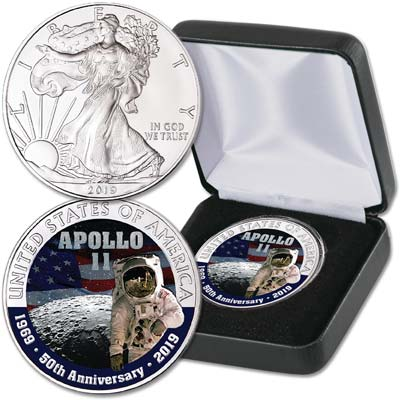 Image for 2019 Colorized Moon Landing Silver American Eagle from Littleton Coin Company