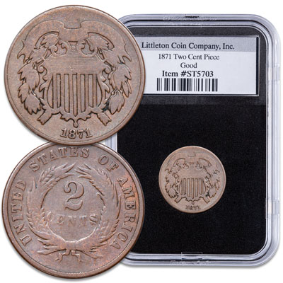 Image for 1871 Two-Cent Piece in Deluxe Holder from Littleton Coin Company