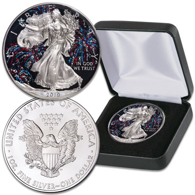 Image for 2019 Colorized Patriotic Fireworks Silver American Eagle from Littleton Coin Company