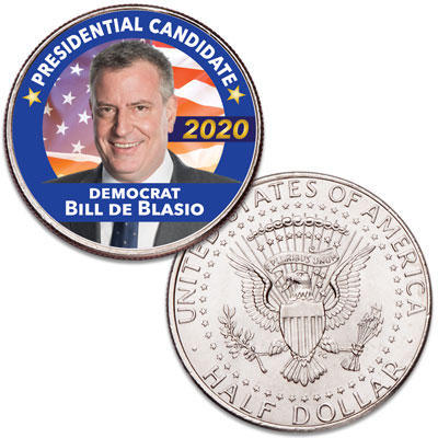 Image for Colorized Bill de Blasio Presidential Candidate Coin from Littleton Coin Company