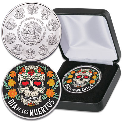 Image for 2019 Colorized Mexico Silver Libertad - Day of the Dead from Littleton Coin Company