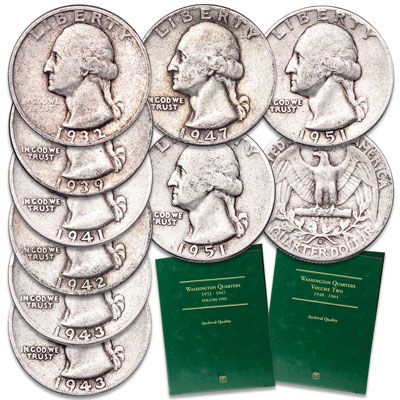 Image for 1932-1954 Washington Silver Quarter Set with Folders from Littleton Coin Company