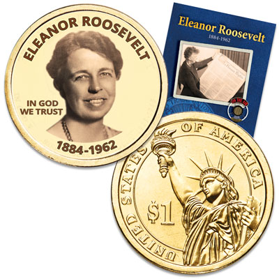 "Image for Prominent Women ""Golden"" Colorized Presidential Dollar - Eleanor Roosevelt from Littleton Coin Company"
