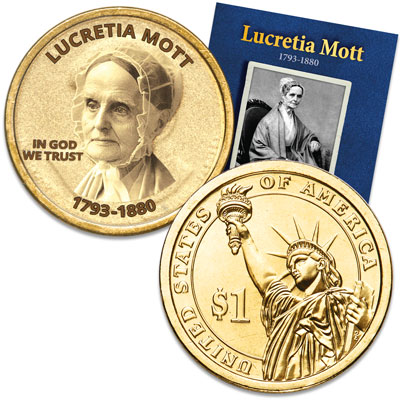"Image for Prominent Women ""Golden"" Colorized Presidential Dollar - Lucretia Mott from Littleton Coin Company"