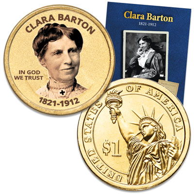 "Image for Prominent Women ""Golden"" Colorized Presidential Dollar - Clara Barton from Littleton Coin Company"