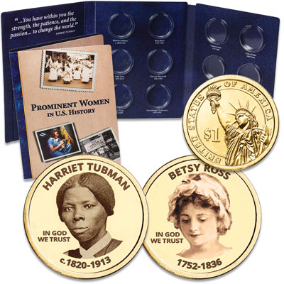 "Image for Prominent Women ""Golden"" Colorized Presidential Dollars with Folder - Harriet Tubman & Betsy Ross from Littleton Coin Company"