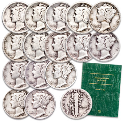 Image for 1920-1939 Mercury Dime Set with Folder from Littleton Coin Company