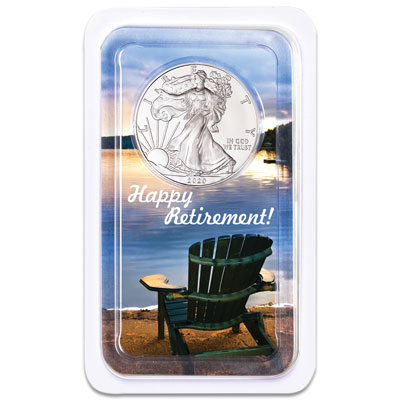 Image for 2020 Silver American Eagle in Happy Retirement Showpak from Littleton Coin Company