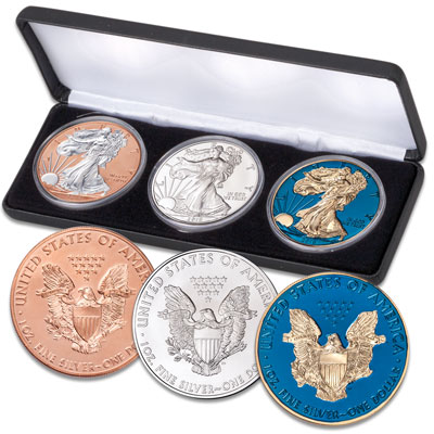 Image for 2019 Silver Eagle Dollars - Red, White & Blue from Littleton Coin Company