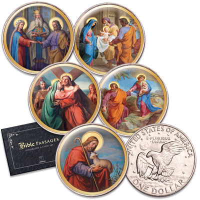 Image for Colorized Bible Passages II Eisenhower Dollar Set from Littleton Coin Company
